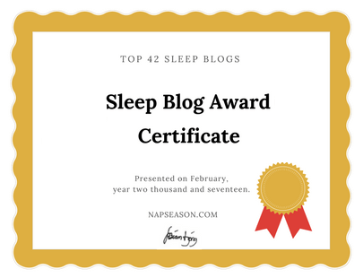 sleep blog award certificate